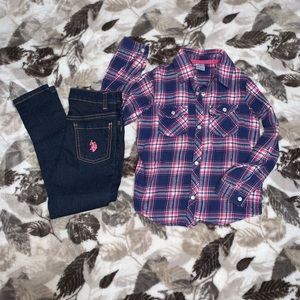U.S. Polo Assn. Jeggings & Carter's Flannel Outfit